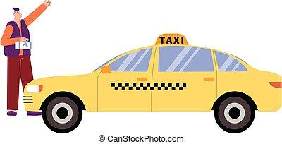 イラスト, 平ら, タクシー