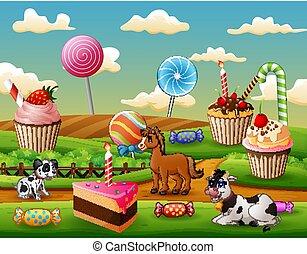 イラスト, 庭, 動物, 甘い, 農場