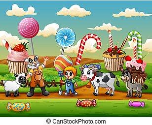 イラスト, 庭, 農夫, 動物, 甘い, 農場