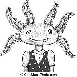 イラスト, 彫版, axolotl