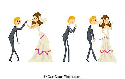 イラスト, 恋人, 面白い, ベクトル, 特徴, 漫画, 花婿, セット, 弱い, 花嫁, 新婚者, 支配された