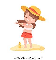 イラスト, 活動, 女の子, ホリデー, 漫画, かわいい, 子供, ベクトル, sunscreen, 夏, 浜, 適用