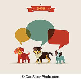 イラスト, -, 犬, 話すこと, アイコン