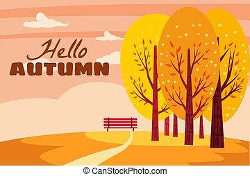 イラスト, 秋, 自然, 孤独, 黄色, 隔離された, オレンジ, 熟視, park., こんにちは, ベクトル, 葉, 景色。, ベンチ, 秋の木