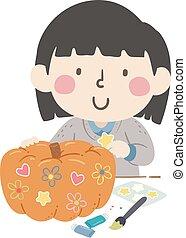 イラスト, 秋, 飾り付けなさい, 女の子, 子供, カボチャ