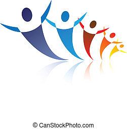 イラスト, 表す, グラフィック, 幸せ, ネットワーク, カラフルである, 人々, ある, ポジティブ, 共同体, 一緒に, 社会, 友人, ∥あるいは∥, symbols/icons