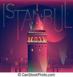 イラスト, galata, ベクトル, 夜, タワー, 光景