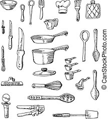イラスト, hand-drawn, cookware