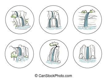 イラスト, waterfall., ベクトル