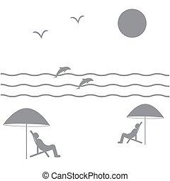イルカ, 映像, sea:, 椅子, カモメ, 人々, 波, 太陽, 下に, 休日, 浜, 傘, すてきである