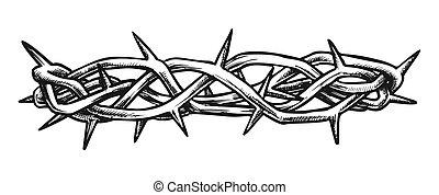 インク, 光景, キリスト, 側, とげ, 王冠, イエス・キリスト, ベクトル