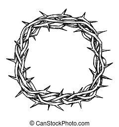 インク, 平面図, キリスト, 王冠, とげ, イエス・キリスト, ベクトル