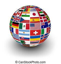 インターナショナル, 地球, 旗, 世界