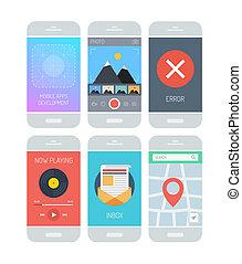 インターフェイス, 適用, smartphone, 要素