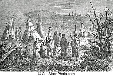 インド人, キャンプ, sioux