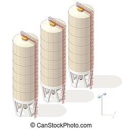インフォメーション, バックグラウンド。, サイロ, 黄土, 建物, 白, 等大, 穀粒, グラフィック
