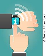 インフォメーション, 指すこと, 腕時計, 印, 手, 痛みなさい