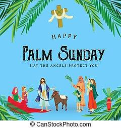 イースター, 家族, 人々, イエス・キリスト, エルサレム, やし, 挨拶, 前に, キリスト, ろば, palmtree, 宗教, 日曜日, 休日, 乗車, 幸せ, 入口, 祝福, イラスト, 葉, ベクトル, 人