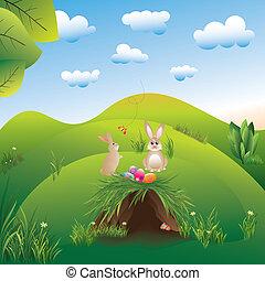 イースター, 春, landspace, 不思議の国, 休日, ノウサギ