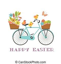 イースター, 贈り物, かわいい, 鶏, ベクトル, 自転車