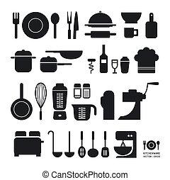 ウェブサイト, ありなさい, 使われた, レイアウト, アイコン, 道具, /, vector/horizontal, グラフィック, 缶, infographics, コレクション, ∥あるいは∥, 台所