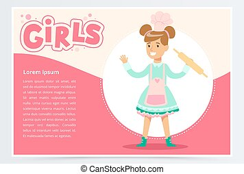 ウェブサイト, かわいい 女, ピン, モビール, app, 女の子, 平ら, 要素, シェフ, ベクトル, 回転, 微笑, 旗, ∥あるいは∥