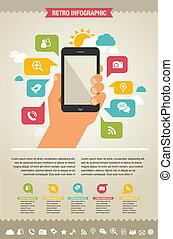ウェブサイト, アイコン, モビール, -, 電話, infographic, 背景