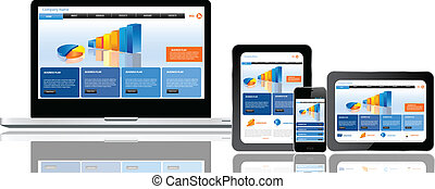 ウェブサイト, 多数, テンプレート, 装置