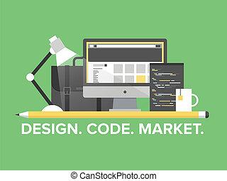 ウェブサイト, 管理, プログラミング, イラスト, 平ら