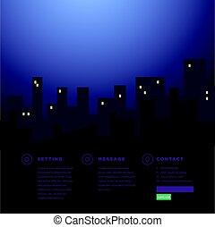 ウェブサイト, 都市, 超高層ビル, 背景, 夜, 光景