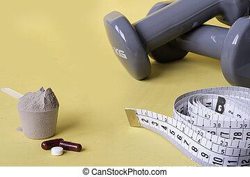 ウエイト, 概念, 健康, 食事である, 前方へ, supplements., 補足, 食事, 測定, 丸薬, スポーツ, 黄色, バックグラウンド。, テープ