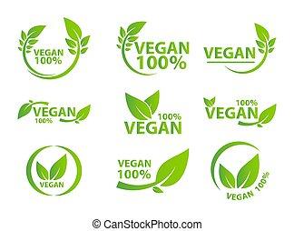 エコロジー, bio, 葉, ラベル, 有機体である, タグ, vegan, アイコン, 緑