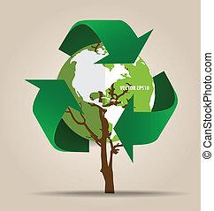 エコロジー, concept., 木, シンボル, ベクトル, リサイクルしなさい, 緑, 考えなさい