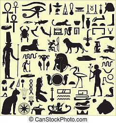 エジプト人, シンボル, 1, セット, サイン