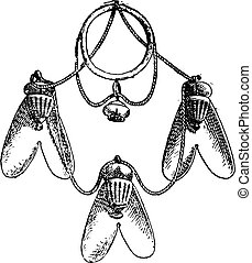 エジプト人, 飛ぶ, 金のネックレス, engraving., 型, 掛かること