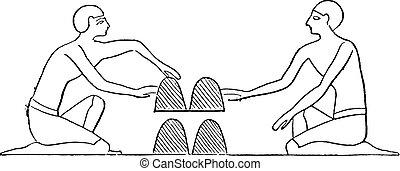 エジプト人, engraving., tricksters, 型