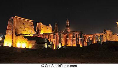 エジプト, ルクソール, 寺院, 夜