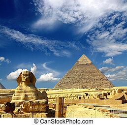 エジプト, cheops の ピラミッド, スフィンクス