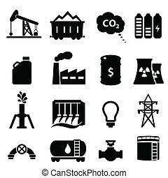 エネルギー, オイル, セット, アイコン