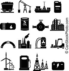 エネルギー, セット, 産業, 力, アイコン