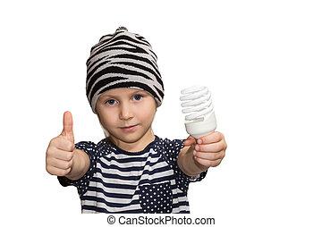 エネルギー, セービング, ランプ, 子供
