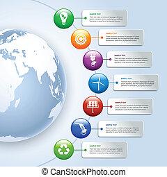 エネルギー, 緑, infographics
