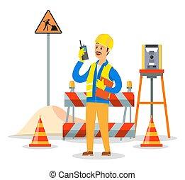 エンジニア, 呼出し, ビジネス, ヘルメット, construction., 建築者, 監督, コミュニケーション, 電話, 概念