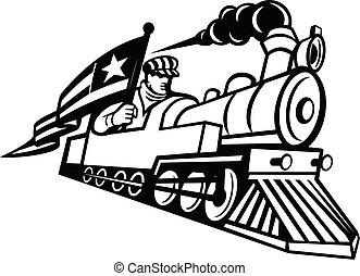 エンジニア, 機関車, アメリカ人, 黒, 白, マスコット, 蒸気, 運転, 列車
