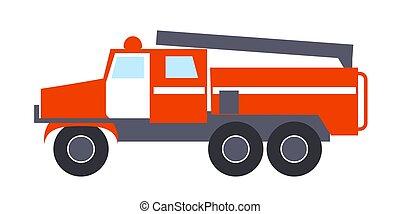 エンジン, 火, はしご, 隔離された, イラスト