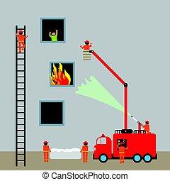 エンジン, 火, firefighting