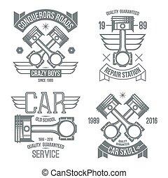 エンジン, 自動車, 紋章, ピストン