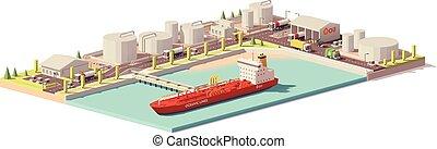 オイル, ターミナル, poly, ベクトル, 低い, 船, タンカー