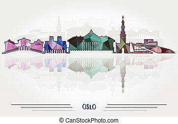 オスロ, ベクトル, 背景, 都市