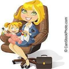 オフィス, ビジネス, お母さん, 女の赤ん坊, 椅子